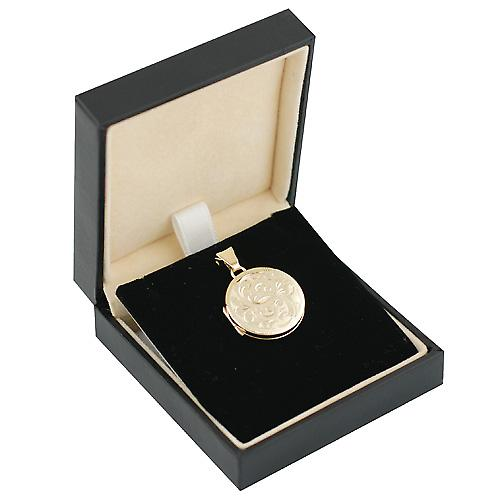 9ct Gold 20mm round flat hand engraved Locket