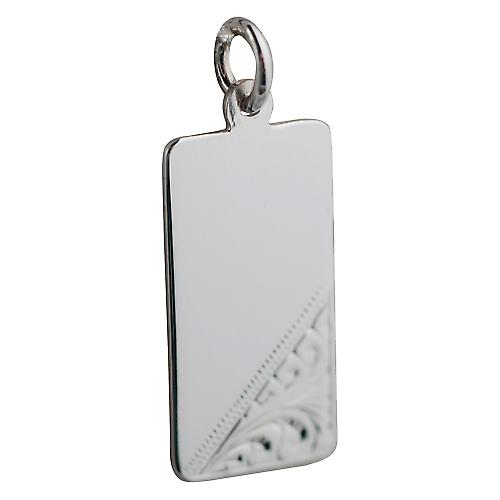 Silver 26x13mm hand engraved rectangular Disc