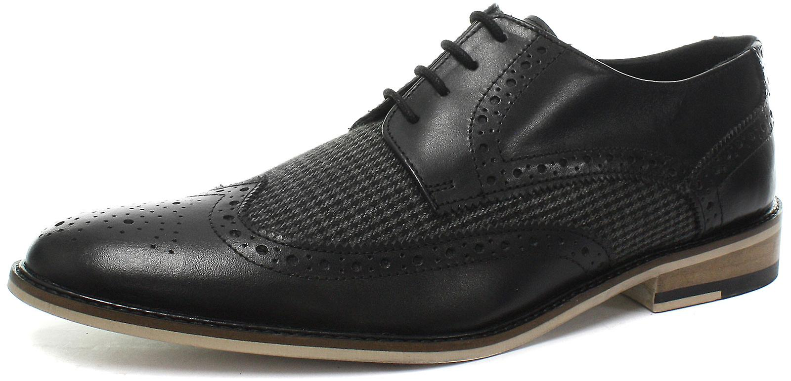 Roamers 4 Eye Wing Cap Gibson Black Mens Brogue Shoes