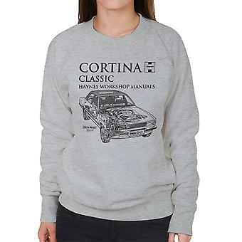Haynes Owners Workshop Manual 0343 Ford Cortina Classic Black Women's Sweatshirt