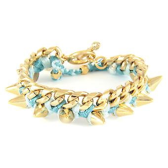 Ettika - Bracelet in yellow gold Spikes and cotton braided ribbons blue ice