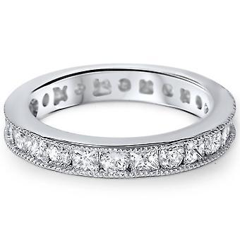 1 5/8ct Princess & Round Cut Diamond Milgrain Eternity Ring 14K White Gold