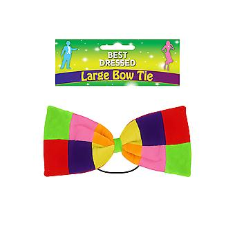 Adults Clown Large Patchwork Rainbow Bow Tie Fancy Dress Accessory Party Novelty