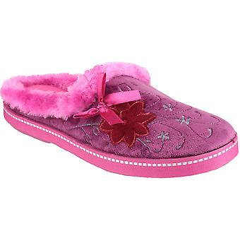 Mirak Ladies Dijon Faux Fur Accented Textile Stitch Slipper Pink