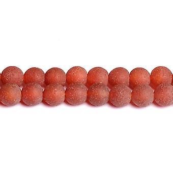 Strand 40 + röd färgad agat 8mm frostad vanligt runda pärlor CB50303-2