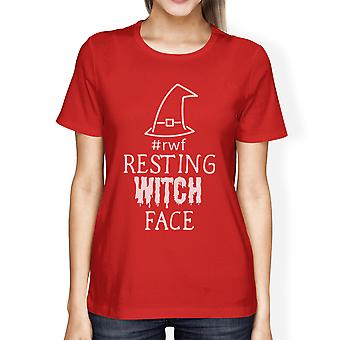Resting Witch Face Halloween Costume Shirt For Women Red Cotton