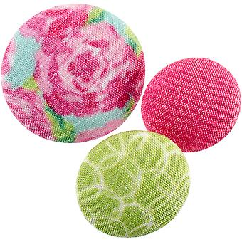 Fabricraft - Fabric Covered Buttons 8/Pkg-Roses