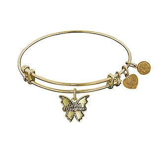 Smooth Finish Brass Grand Daughter Angelica Bangle Bracelet, 7.25