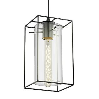 Eglo Loncino Single Pendant Light In Black Steel And Smoked Glass