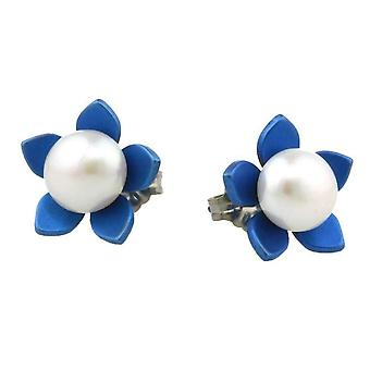 Ti2 Titanium Large Flower and Pearl Stud Earrings - Navy Blue
