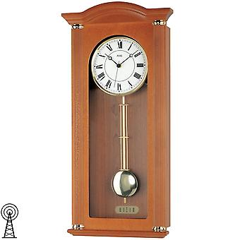 rustic modern wall clock radio pendulum wooden cabinet cherry finish