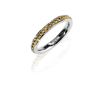 MANUEL ZED - Stainless Steel Rhinestone Ring Band- Golden - G2064 0018 18