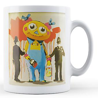 Banksy Printed Mug - Police Arrest Cartoon - BKM318