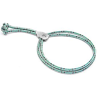 Anchor and Crew Pembroke Silver and Rope Bracelet - Green Dash
