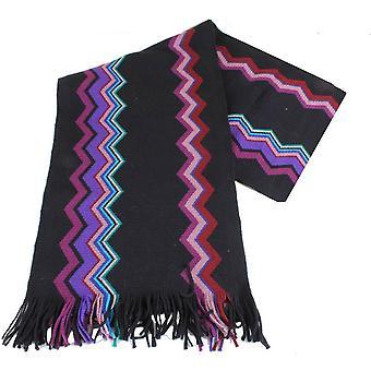 Bassin and Brown Pele Jagged Stripe Wool Scarf - Black/Purple/Pink