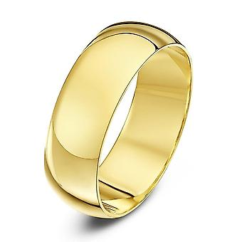 Star Wedding Rings 9ct Yellow Gold Extra Heavy D Shape 7mm Wedding Ring