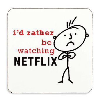 Men's I'd Rather Be Watching Netflix Coaster Cork Backed
