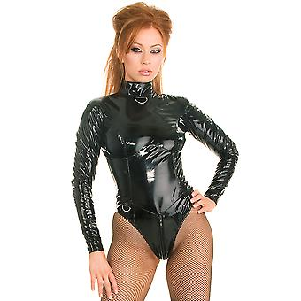 Honour Women's Sexy Bodysuit Black PVC Mistress with High Collar Longsleeves