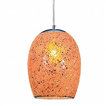 Searchlight 8069OR Crackle Orange Mosaic Glass Pendant