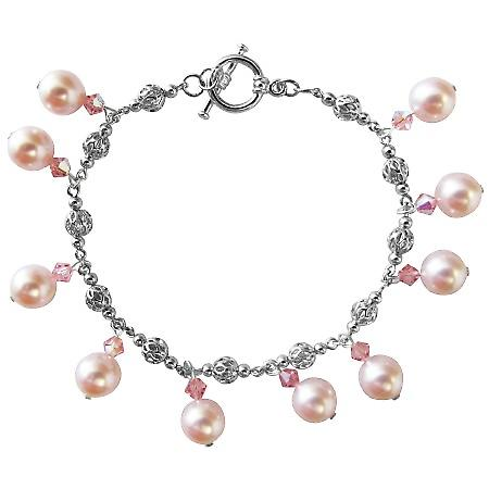 Rose Pink Pearl & Swarovski AB Rose Pink Crystal Wedding Party Bridal Bridemaides Bracelet