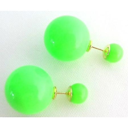 Neon Green Front Back Double Sided Stud Earrings Complimentary Gift