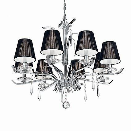 Ideal Lux - ACCademy Chrome And Crystal Eight Light Chandelier With noir Shades IDL020594
