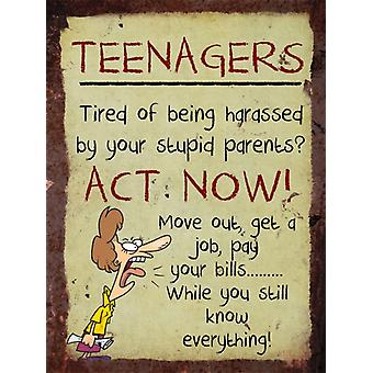 Vintage Metal Wall Sign - Teenagers