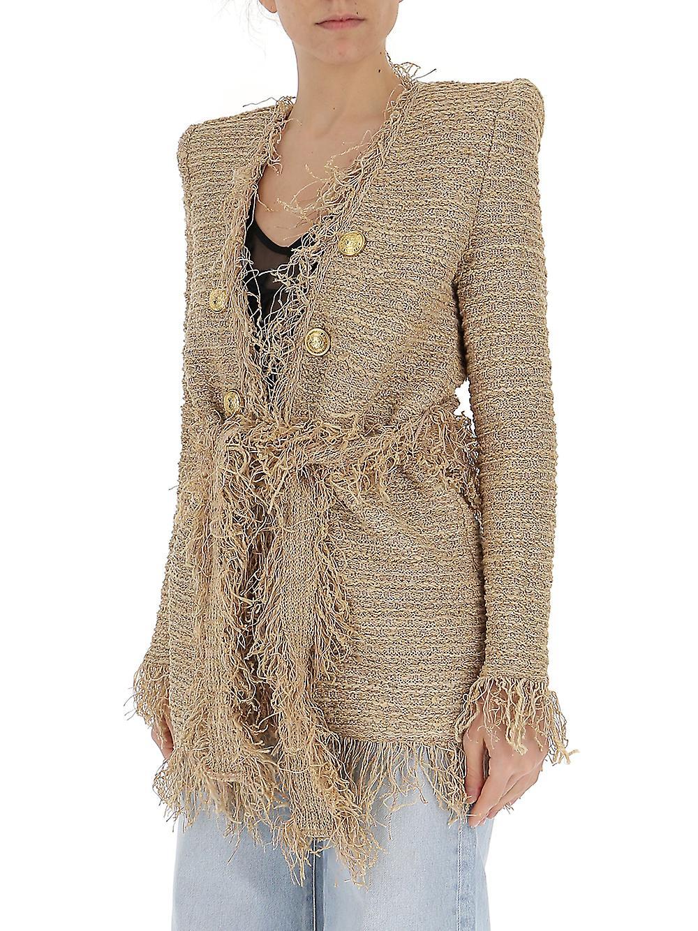 83689841 Balmain Beige Silk Dress | Fruugo