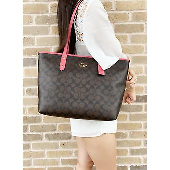 Coach f31974 f58292 signature city zip top tote brown strawberry pink