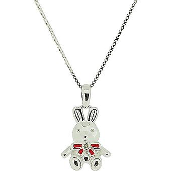 D For Diamond Girls Sterling Silver Teddy Bear Charm Pendant On 14 Inch Chain