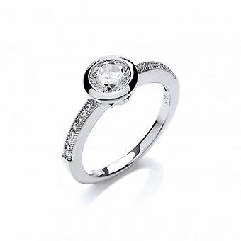 Cavendish French Fine Silver and Cubic Zirconia Solitaire Ring