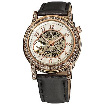 Akirbos XXIV AK475RG Women's Crystal Accented Open Heart Automatic Skeleton Satin Rose-Tone Strap Watch