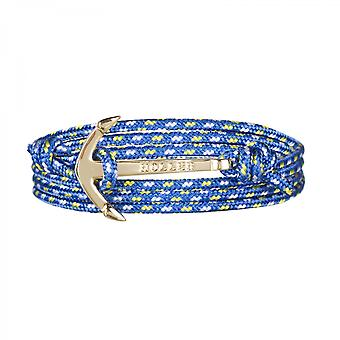 Holler Mosley  Gold Polished Anchor / Blue, Yellow and White Paracord Bracelet HLB-01GDP-P17