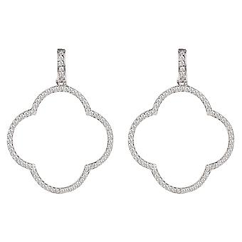 Large Open Clover Drop Earrings White CZ Statement Big Party 925 Sterling Silver