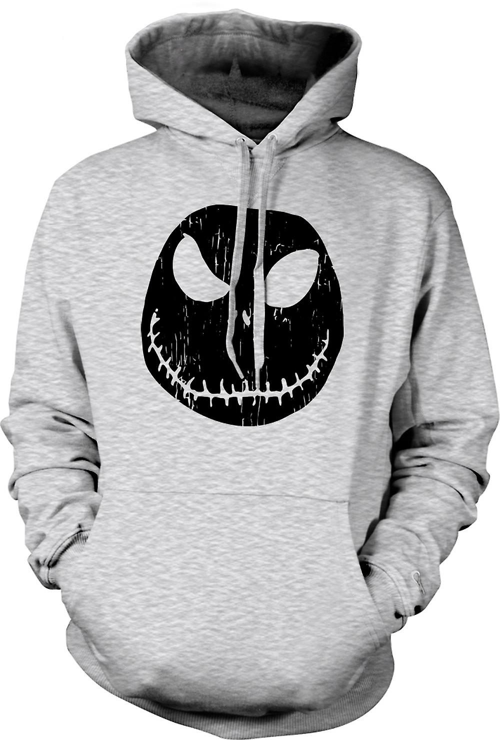 Mens Hoodie - skrämmande Halloween pumpa - Smiley Face