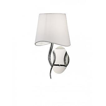 Mantra Ninette Wall Lamp 1 Light E14, Polished Chrome With Ivory White Shade