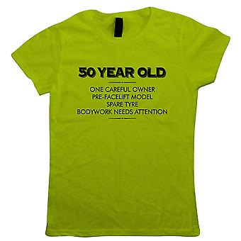 50 Year Old One Careful Owner Womens Funny T-Shirt | Humour Laughter Sarcasm Jokes Messing Comedy | Ideal Top Father Mother Day Wife Husband Mum Dad | Age Related Gift Her Mum