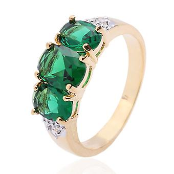 10K Yellow Gold Filled Emerald Green Three-stone Ring