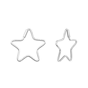 Star - 925 Sterling Silver Ear Hoops - W38493X