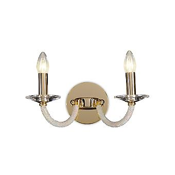 Lampe diyas Elena Wall Switched 2 Light Gold/Crystal