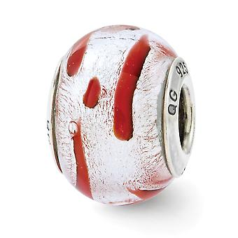 925 Sterling Argent Poli Antique finition italienne Murano Glass Reflections Silver Red Italien Murano Bead Charm