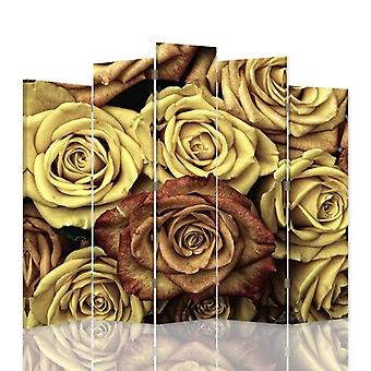Decorative Room Divider, 5 Panels, Double-Sided, 360 ° Rotatable Canvas, Roses Tea