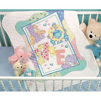 Baby Hugs Zoo Alphabet Quilt Stamped Cross Stitch Kit 34