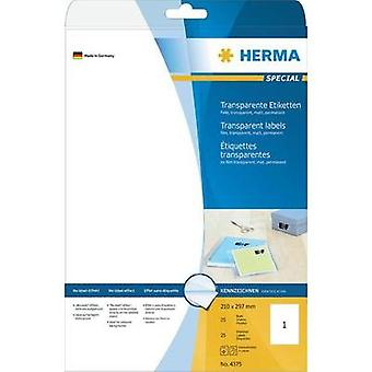 Herma 4375 Labels (A4) 210 x 297 mm Polyester film Transparent 25 pc(s) Permanent All-purpose labels, Weatherproof label