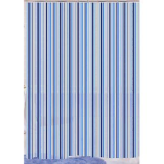 Blue Linear Stripe Designer Peva Shower Curtain 180 X 180Cm