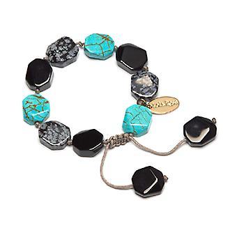 Lola Rose Neva Bracelet Black Obsidian and Snowflake Obsidian