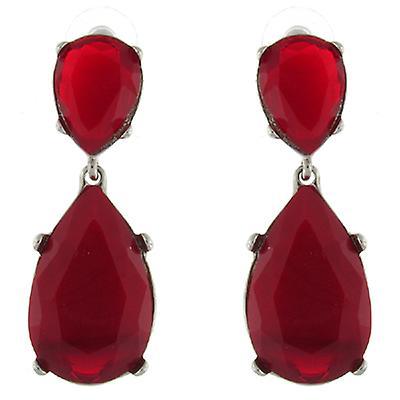 Kenneth Jay Lane Silver and Red Opal Crystal Teardrop Earrings