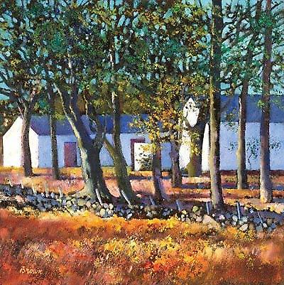 Davy Brown print - Farm Buildings through Trees