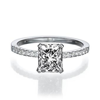 1 Carat E SI1 Diamond Engagement Ring 14k White Gold Micro Pave Promise Ring Radian Cut