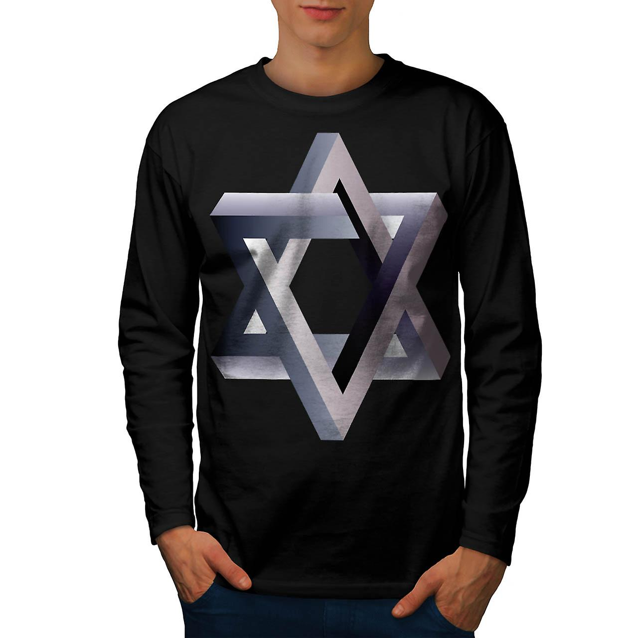 Star Of David Symbol Judaism Sign Men Black Long Sleeve T-shirt | Wellcoda